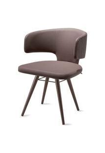 Cadeira Hug Assento Estofado Linho Trufa Com Base Tabaco - 46867 Preto