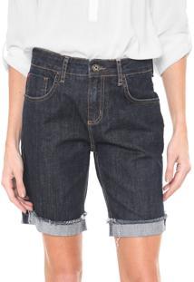 Bermuda Jeans Forum Boyfriend Pespontos Azul-Marinho