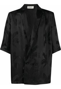Saint Laurent Camisa Com Estampa De Palmeira E Lapelas Xale - Preto