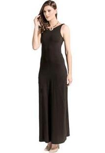 Vestido Longo Tranças Cantão - Feminino-Preto