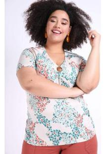 Blusa Mini Floral Plus Size Kauê Plus Size Feminina - Feminino-Verde
