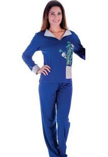 Pijama Inverno Frio Longo Victory Feminino - Feminino-Azul Escuro