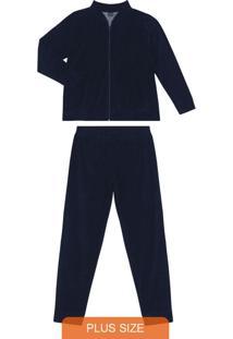 Conjunto Plus Size De Plush Azul