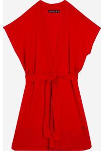 Colete Dudalina Tricot Liso Faixa Para Amarrar Feminino (Vermelho Medio / Medium Red, G)