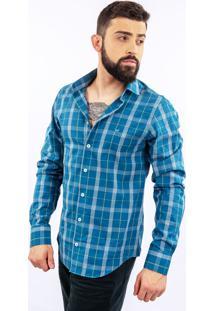 Camisa Lupim Slim Fit Xadrez Turquesa