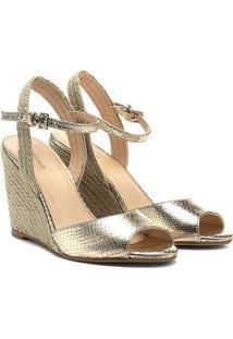 Sandália Anabela Couro Shoestock Metalizada Feminina
