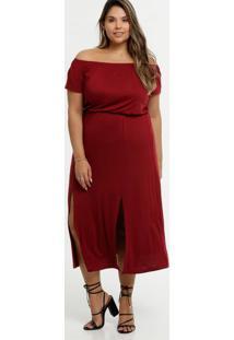 Vestido Feminino Ombro A Ombro Fenda Plus Size