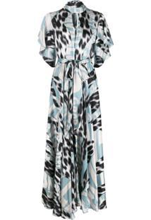 Just Cavalli Vestido Longo Gola Alta Com Estampa Gráfica - Azul