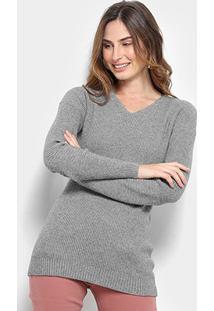 Suéter Tricot Facinelli Gola Removível Feminino - Feminino-Cinza