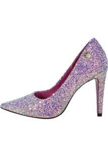 Scarpin Week Shoes Salto Alto Glitter Lilás