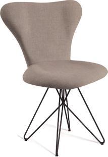 Cadeira Jaçobsen Butterfly Aço T1073 Linho Bege Daf