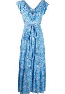 Poupette St Barth Vestido Longo Com Estampa Floral - Azul
