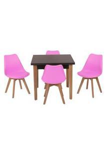 Conjunto Mesa De Jantar Luiza 80Cm Preta Com 4 Cadeiras Leda - Rosa