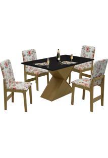 Conjunto De Mesa Com 4 Cadeiras Com Tampo Mdf Viena - Dobuê - Mel / Preto / Vermelho Floral