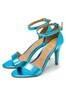 Sandália Feminina Flor Da Pele Salto Alto Em Azul Celeste Metalizado