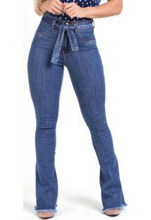 Calça Flare Jeans Sawary Com Faixa E Amarração