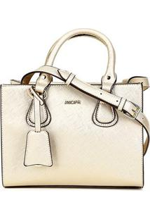 Bolsa Anacapri Handbag Eco Safiano Shandong Feminina - Feminino-Dourado