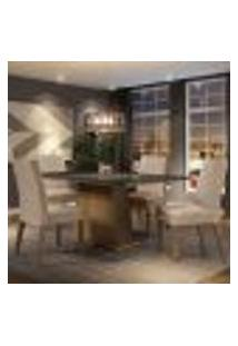 Conjunto Sala De Jantar Madesa Sabrina Mesa Tampo De Vidro Com 4 Cadeiras - Rustic/Preto/Imperial
