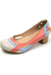 Sapato Retrô Salto Quadrado Touro Boots Feminino Off White, Azul E Rosa - Kanui