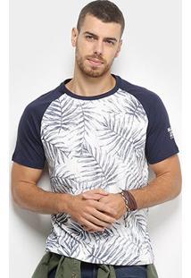 Camiseta Bulldog Fish Folhagem Bicolor Masculina - Masculino-Marinho