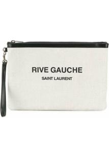 Saint Laurent Clutch Com Logo - Neutro