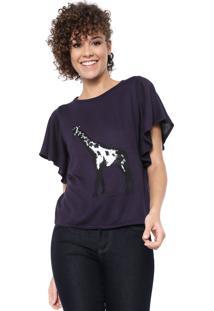 Blusa Maria Filó Tricot Girafa Azul-Marinho