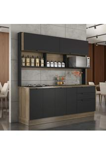 Cozinha Completa 6 Portas 2 Gavetas E Cooktop Cook Itatiaia Castanho/Preto