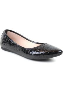 Sapatilha Tag Shoes Croco Verniz Estilo Macia Dia A Dia - Feminino