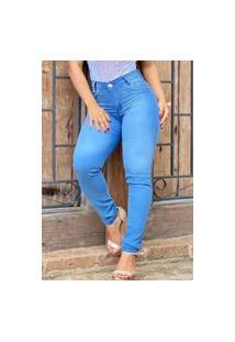 Calça Jeans Skinny Premium Fec Fashion Cintura Alta Azul Claro