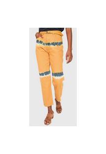 Calça Sarja Cantão Mom Tie Dye Amarela/Azul-Marinho