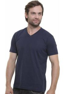 Camiseta Decote V Masculina - Masculino-Marinho