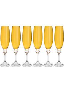 Jogo De Taças Para Champagne 6 Peças 220Ml Elisa - Bohemia - Topazio