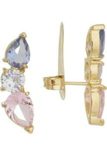 Brinco Ear Cuff Gotas Banho Ouro 18K - Feminino-Rosa+Prata