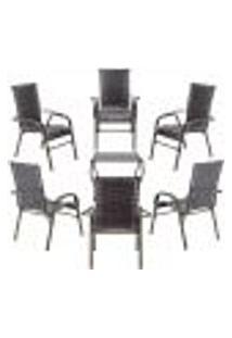 Conjunto Mesa Baixa E 6 Cadeiras Para Área Edicula Jardim Bela, Ferro E Fibra Trama Fechada Tabaco