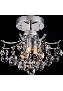 Plafon Lora Cristal Transparente 3G9 Ss023 25X22Cm Bella