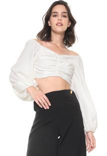 Blusa Cropped Lança Perfume Ombro A Ombro Branca