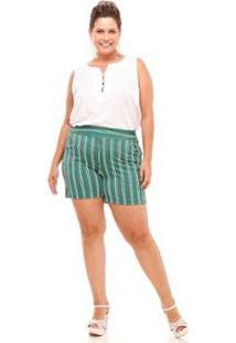 5e59ee639fd8 R$ 89,90. Zattini Shorts Melinde Plus Size Brocado Listrado Feminino ...