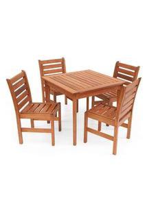 Conjunto Mesa De Jantar Em Madeira Maciça Com 4 Cadeiras Magazine Decor - Jatobá
