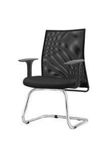 Cadeira Liss Com Braco Fixo Assento Courino Preto Base Fixa Cromada - 54669 Preto