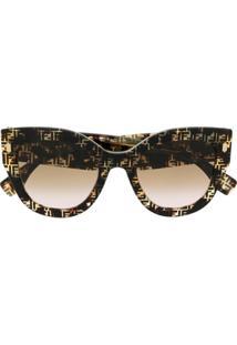Fendi Eyewear Óculos De Sol Gatinho Com Logo Ff - Marrom
