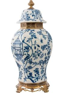 Vaso De Porcelana E Bronze V - Blue White