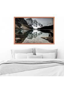 Quadro Love Decor Com Moldura Alpes Suíços Rose Metalizado Grande