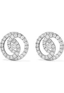 Kiki Mcdonough Par De Brincos De Ouro Branco 18K Com Diamante - White Gold