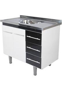 Gabinete De Cozinha Lyon 53X94,4Cm Branco E Preto Bonatto