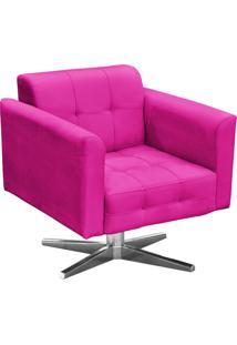 Poltrona Decorativa Elisa Suede Pink Com Base Giratória Em Aço Cromado - D'Rossi