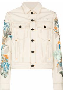 Off-White Jaqueta Jeans Com Estampa Floral - 0310 Off White Cream