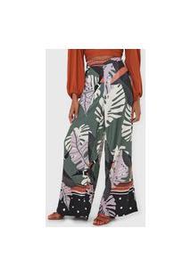 Calça Mercatto Pantalona Folhagem Verde