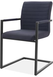 Cadeira Ferrara Preta Com Braco Base Aco Preta - 59508 - Sun House