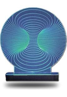 Abajur/Luminária De Mesa Em Acrílico Túnel 3D Com Led Azul Com Cabo De Força E Pilha