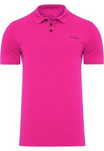 Polo Masculina Swim Estampa Logo - Rosa